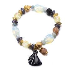 Charming Spring Summer Stones Charms Pompom Elastic Bangle Bracelets Wrist