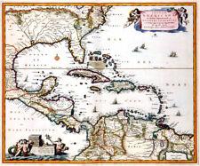 Reproduction carte ancienne - Amérique Centrale, Caraïbes vers 1685 (Caribbean)
