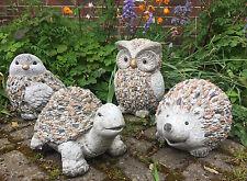 Stones Effect Garden Patio Animal Ornament ~ OWL ~ HEDGEHOG ~ BIRD ~ TORTOISE