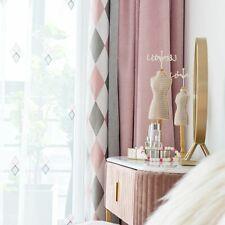 Modern Curtains Window Sheer Tulle Treatments Simple Diamond Patterns Splice New