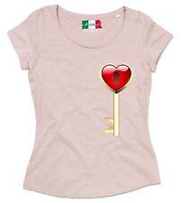 MAGLIETTA DA DONNA  MADE IN ITALY  TESSUTO FIAMMATO COLORATO: cuore chiave