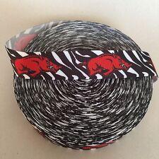 "1"" Arkansas Razorbacks Zebra Print Grosgrain Ribbon by the Yard (USA SELLER)"