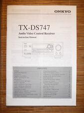 Instruction Manual for Onkyo TX-DS747 ,ORIGINAL