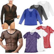 Mens Long Sleeve Fishnet Mesh T-shirt Gothic Punk Tank Vest Top Blouse Sexy Club