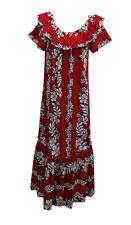 Hawaiian Luau Party Long Red Hibiscus Traditional Muumuu Dress-S,M,L,XL,2X,3X,4X