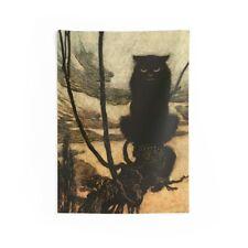 Black Cat, Indoor Wall Tapestry, Halloween, Arthur Rackham, 1920