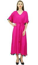 Bimba Womens Long Kaftan Dress With Pom Pom Caftan Designer Chic Coverup Maxi