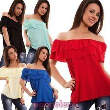 Suéter mujer camiseta volantes escote carmen gitana manga corta nueva CJ-1528