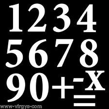 Sticker Décoration Planche Chiffres, numéro 0 à 9 (15x15 cm à 30x30 cm)