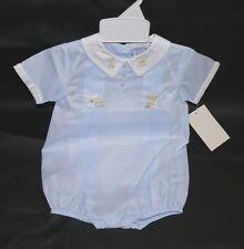 NWT Friedknit Creations Blue Boys White Collar Newborn Creeper  #13112 Cotton Bl