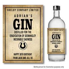 PERSONALISED Peaky Blinders Inspired Gin Wine Bottle Label Sticker Birthday 104