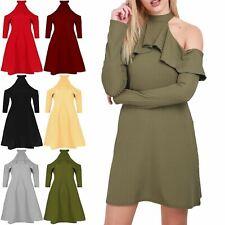 Women Ladies High Halter Neck Peplum Frill Cold Shoulder Ribbed Swing Mini Dress