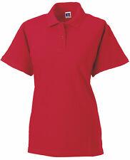 Russell rosso tinta unita cotone piqué da donna Donna Polo Golf Camicia sportiva