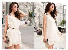 Fashion Women's Summer Sleeveless Chiffon Casual Loose Mini Dress Sundress #025