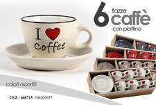 BELLI IN TAVOLA, SET 6 TAZZINE CAFFE` CON PIATTINI, IN CERAMICA DIPINTA A MANO,