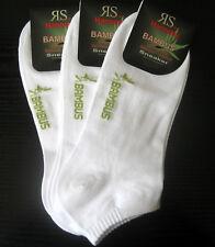 3 Paar Herren Bambus Sneaker Socken Füßlinge weiß  39 bis 46
