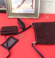 Croche Three Piece Purse Brown Shoulder Bag Lip Stick ID