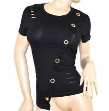CAMISA de manga corta negra mujer camiseta algodón elástico tricou T-shirt G14