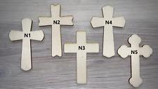 10 CHRISTIAN CROSS 3mm PLYWOOD PLAIN CRAFT DIY WOODEN
