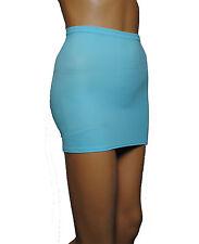 Pale BLUE Lycra Stretch MINI SKIRT WOMENS Party Club BODYCON SEXY Ladies  S120