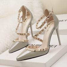 Stiletto Scarpe decolte sandali eleganti borchie  simil pelle 11 grigio 1188