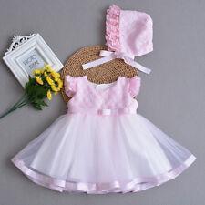 Bebé Niñas Vestido de Fiesta con Gorro Amarillo Rosa Azul 0 3 6 12 18 24 Meses