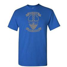 Cafe Racer-Triton-Moto-Biker - Motocicleta Retro logotipo en gris-azul real-Camiseta