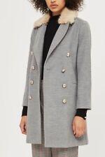 Topshop Nancy Grey Fur Collar Double Breasted Boyfriend Slim City Coat 6 - 16