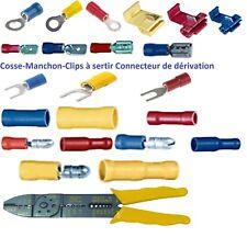 Cosse électrique isolée à sertir ronde fourche clips dérivateur de 10 , 25 ou 50