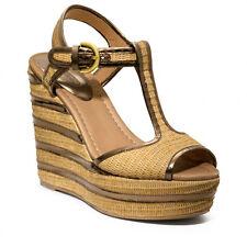 Coach Geneva Stripe Wedge Platform Open Toe Sandal Leather & Straw NIB Sz 8.5 11