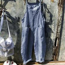 Women Striped Bib Jumpsuit Playsuit Baggy Overalls Pants Sleeveless Suspender