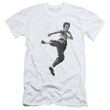 Bruce Lee Flying Kick Mens Slim Fit Shirt