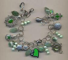 Bracciale con charms, avventurina, giada, perle verdi