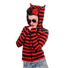 Banned Ladies Red and Black Stripe Cat Ears Hoodie - Zip Up Alternative Hoodie