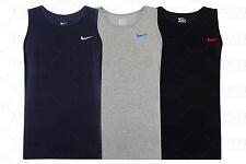 New Men's Nike Logo Vest Tank Top Sleeveless T-Shirt Singlet - Black Navy Grey