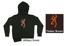 Youth Browning Over Under Buckmark Hoodie Military Green Brown Sweatshirt M L XL