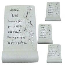 New Memorial Diamante Flower Butterfly Scroll Plaque Graveside Keepsake Ornament