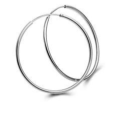 925 Sterling Silver Endless Round THIN HOOP Earrings 45mm (1.77 inch) Diameter