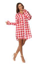Red Cotton Boyfriend Long Sleeve Plaid Oversized Flannel Shirt Dress S M L