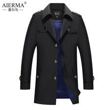 Men's Fall Jacket Business Mid Long Dust Coat Lapel Single breasted Overcoat Sz