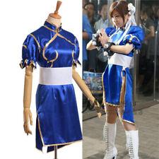 Street Fighter Chun Li Blue Cheongsam Cosplay Costumes Adults Kid Battle Dress