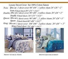 New REVERSIBLE 100% Cotton Sateen 4PCS Duvet Cover Set KING QUEEN DOUBLE TWIN