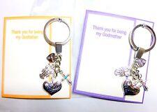Godmother OR Godfather Christening Baptism Naming Key ring Thank you Gift
