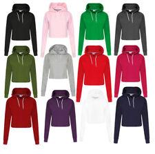 Womens Girls Plain Casual Crop Top Pullover Hooded Sweatshirt Jumper Hoodie