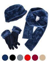 Women's Plush Faux Fur and Fleece 3 Piece gloves scarf Hat Winter Set