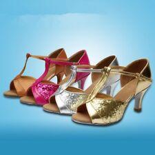 Womens Party Sequins Heels Prom Salsa Waltz Latin Tango Ballroom Dancing Shoes