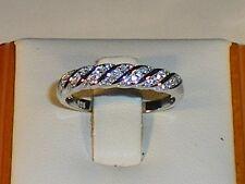 Damen 925 Feinsilber mit Platin-Finish Weiß Saphir Kleid Ring