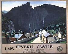 Vintage LMS Peak District Peveril Castle Railway Poster A3/A2/A1 Print