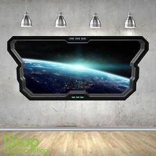 SPACE WALL STICKER WINDOW 3D LOOK - MOON PLANET GALAXY STARS BOYS BEDROOM Z375