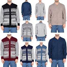 Mens Adult Warm Knitted Pattern Long Sleeve Argyle Grandad Zip Sweater Cardigan
